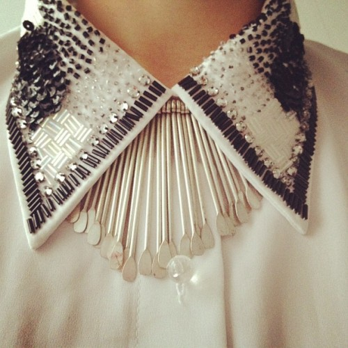 sequinned collar.
