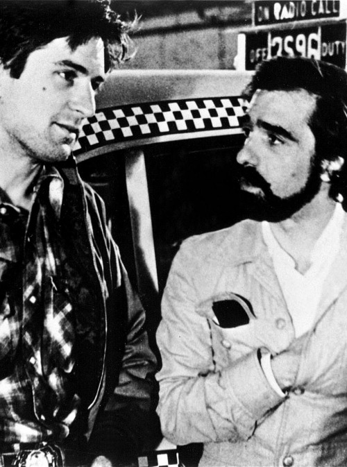 Robert De Niro and Martin Scorsese on the set of Taxi Driver, 1976
