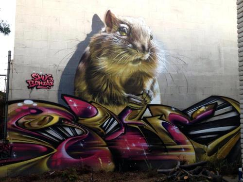 Colossal graffiti chipmunk = Awesome Artists SmugOne (previously featured here) and Bonzai recently teamed up to create this amazing piece in Los Angeles, CA. That giant rodent is so wonderfully detailed. We love the shadows of the chipmunk's whiskers on the wall.  [via Street Art Utopia]