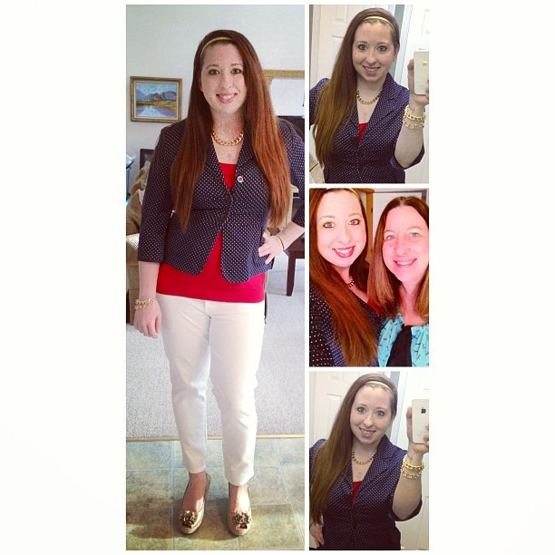 What I wore yesterday: Red, White, Blue, & Gold edition. #bab2013 #nautical #fashion #ootd #wiwt #selfies