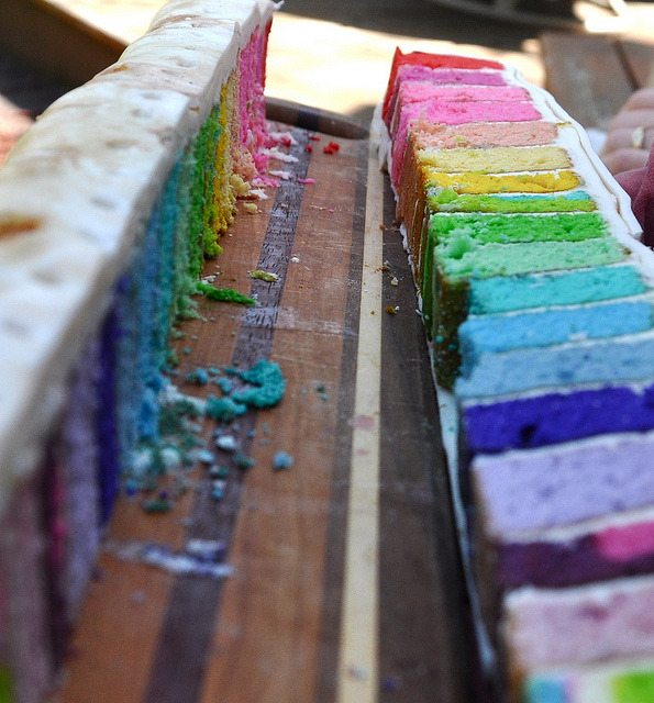samundecided:  Rainbow (surprise) Cake by dailypoetics on Flickr.