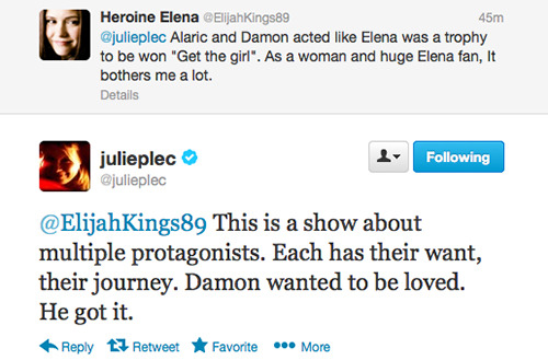 carolineforbhes:  stefansroom:  Julie proving that Elena has been devalued and objectified just to help Damon's man pain.