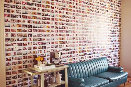 DIY instax wallpaper via A Beautiful Mess