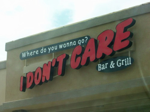 "tastefullyoffensive:  It's across the street from ""I Don't Know."" [via]"