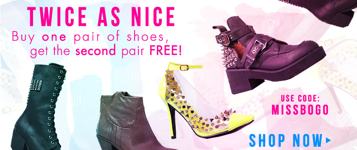 LADIES THIS SALE IS INCREDIBLE!  Miss KL is doing a BOGO sale on their shoes. Use the code to get a pair free!!