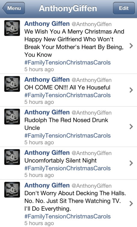 Family Tension Christmas Carols via Twitter