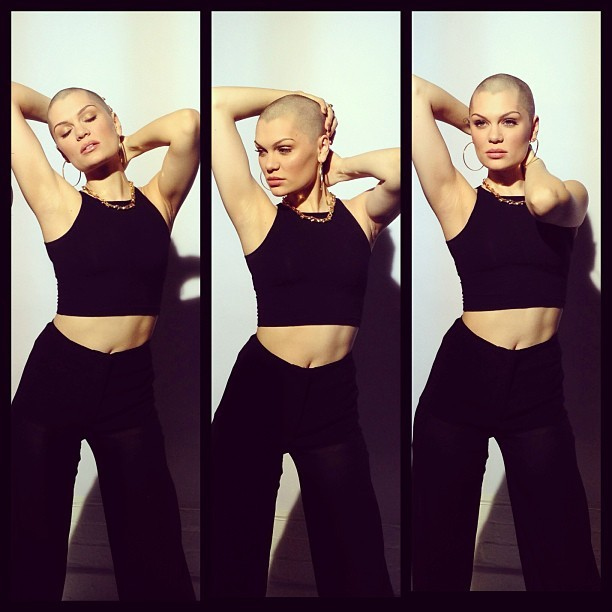 Jessie J looks great bald! She's got a great shaped head and it's really highlighting her strong features. It takes a beautiful woman to be able to pull of having no hair. Think about whether you'd be brave enough to shave your head.. Whether it's for a good cause or not, most of us hide behind our locks and wouldn't dare be so exposed! Go Jessie! You've done a great thing..