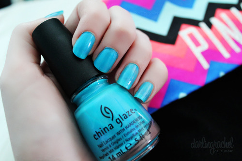 "darlingrachel:  China Glaze ""Towel Boy Toy"" my one nail looks long compared to the others… but it really isn't :