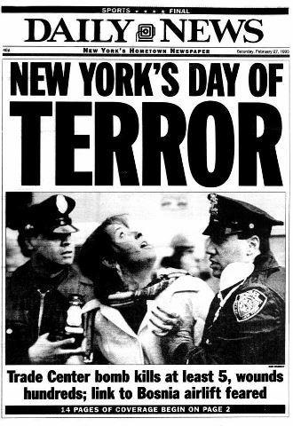 The Daily News front page from the first World Trade Center attack, 20 years ago.