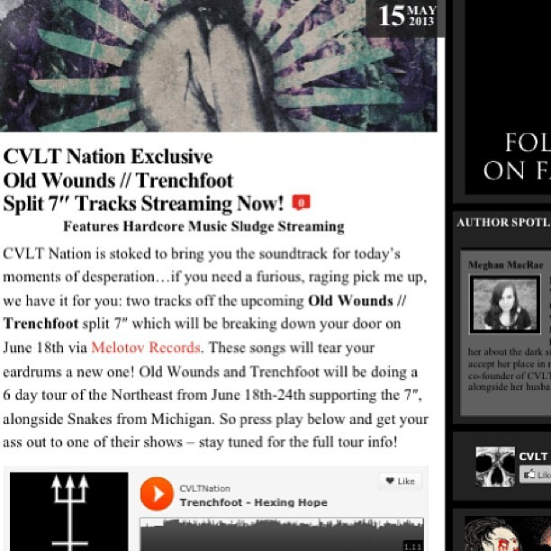 Head over to Cvlt Nation to hear a new track each from Old Wounds and Trenchfoot off the upcoming split! http://www.cvltnation.com/old-wounds-trenchfoot-stream/