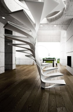 cjwho:  Disguincio&co | Folio Folio is a spiral staircase where all the main features are embedded in a single module: there is no difference between form, structure and aesthetic, the iteration of the monolithic fiber-reinforced composites step, designs a spiral curve in space, the force line of the staircase. Each component supports the previous and the next, the only variation would occur in the top and bottom pieces that connect to landings. Behind the simplicity of the single component, the whole becomes a complex system to articulate a special effect.