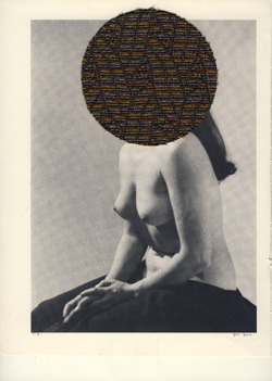 "David McDermott. Nude Woman, 2012. Antique speaker cloth on book page, 11 x 8,25"", 27,9 x 21 cm."