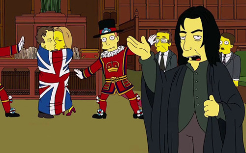 This Sunday on The Simpsons, Benedict Cumberbatch plays both a Hugh Grant-ian Prime Minister and Severus Snape. And we've got exclusive video of his appearance right over here.
