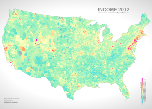 """Estimated median household income in 2012.  Notice the ring of wealth surrounding most every urban area"" ~ @JohnNelsonIDV"