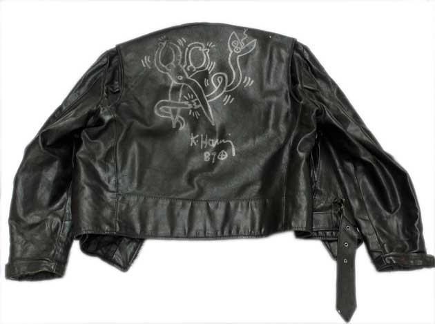You can bid on this leather jacket, hand-illustrated by Keith Haring, at Art.net's holiday ephemera sale.