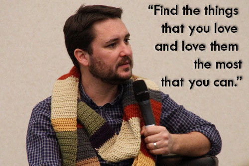"jtotheizzoe:  Wil Wheaton on why being a nerd is awesome Mr. Crusher delivered a message to an audience member's newborn girl on why it's so great to be a nerd, and a little advice for future life. It's a goosebump-inducing video, and you should watch the whole thing here, and maybe just paste it to your mirror or something. I don't know how you'd paste a video to your mirror, but you should. My favorite parts:  ""Being a nerd… it's not about what you love, it's about how you love it… The defining characteristic that ties us all together, is that we love things. Find the things that you love and love them the most that you can.""  A message that jives well with my own (see title of blog). I applaud you, Mr. Wheaton."