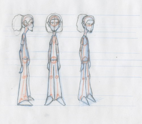 Model sheet of me (with my old hair). I'm animating myself for the jump exercise.