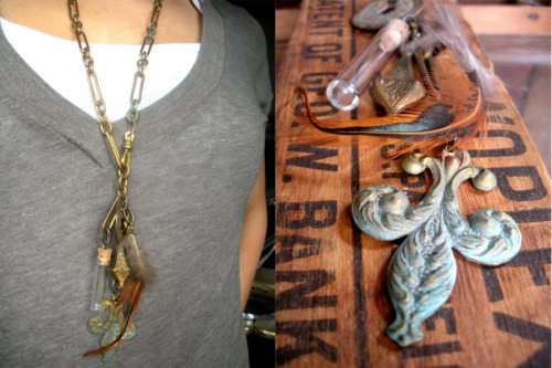 "This is one of my favorite necklaces I've ever made, a nice collection of ""old junk"" on a thick vintage brass chain with a watch fob style front clasp."