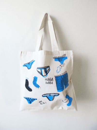because one undie item is certainly not enough… undies-print tote bags!
