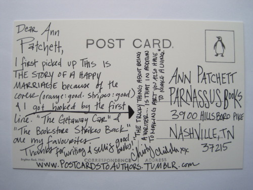 harperperennial:  postcardstoauthors:  Ann Patchett is the author of This Is the Story of a Happy Marriage & co-owner of Parnassus Books.  The cover for Ann's essay collection worked so well in hardcover we're keeping it in paperback. Good.