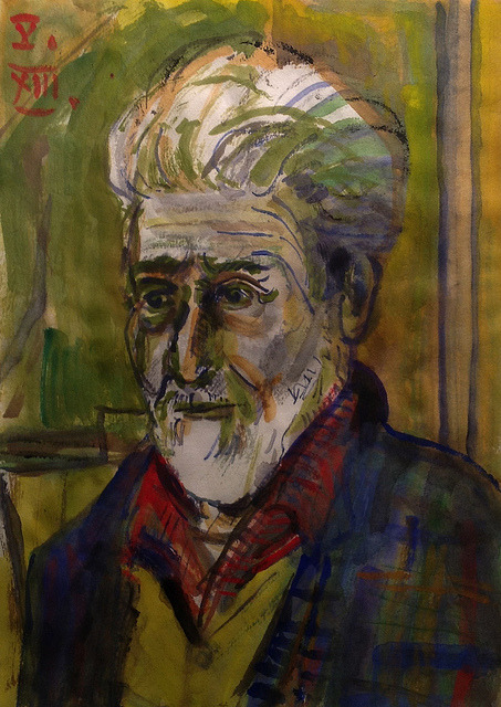 Jon Serl at Age 95, watercolor on Japanese paper 18x25cm, May/2013 #berndblacha on Flickr.