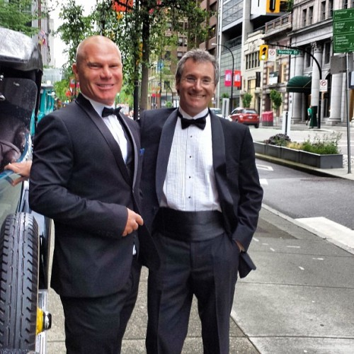 Andy and I yesterday at the Vancouver Clubs 100 year anniversary . #vancouverclub #tux thank you @beeavixen for making me look like 007 . I skated next to this building everyday for years ( new spot ) I never thought I d be partying in there . Full 360