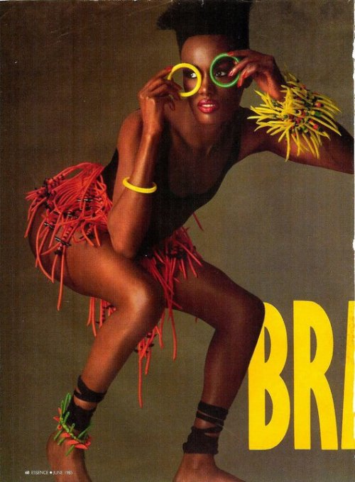 Essence, June 1985Model : Grace Jones