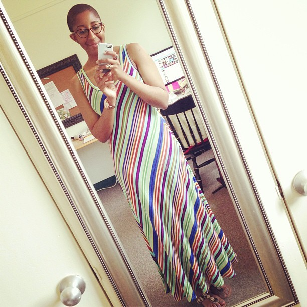 TGIMFF! #casualFriday #tgif #maxidress #baldy #naturalhair #stripes