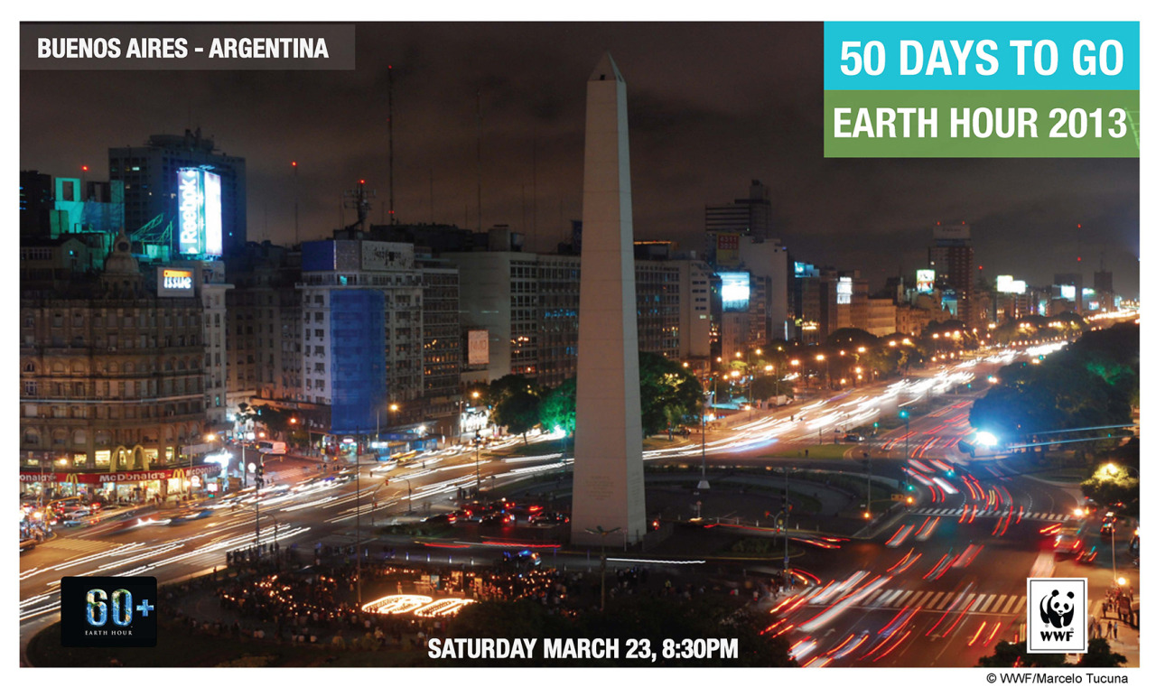 50 days to go until Earth Hour! From today until March 23, we'll be featuring the best Earth Hour shots from cities across the world, in our countdown towards the hour of inspiration.  Let's kick it off with Buenos Aires in Argentina…