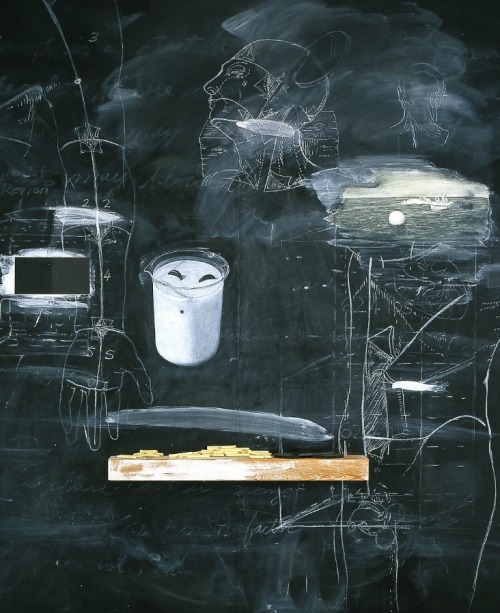 nearlya:   Vernon Fisher. Evidence of Houdini's Return, 1994, Oil, blackboard slating, wood, mixed media on Board