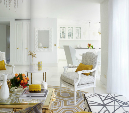 Gold and White Living via @adorehomemag
