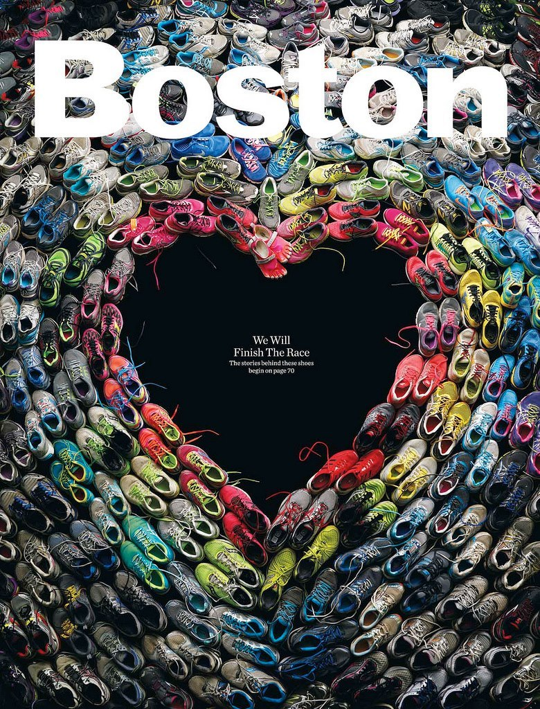 The cover of an upcoming issue of Boston Magazine, showing a heart made from sneakers worn by runners in the Boston Marathon. Nice.