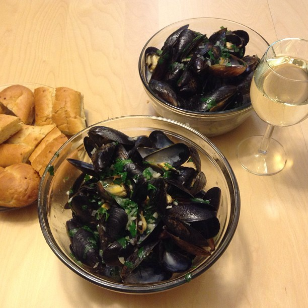 Mussels in white wine (at Burnaby Center)