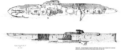 Two-part drawings of remains of USS UTAH. Drawn by Jerry Livingston from underwater operations conducted by SCRU and US Navy Reserve MDSU One (Det 319).