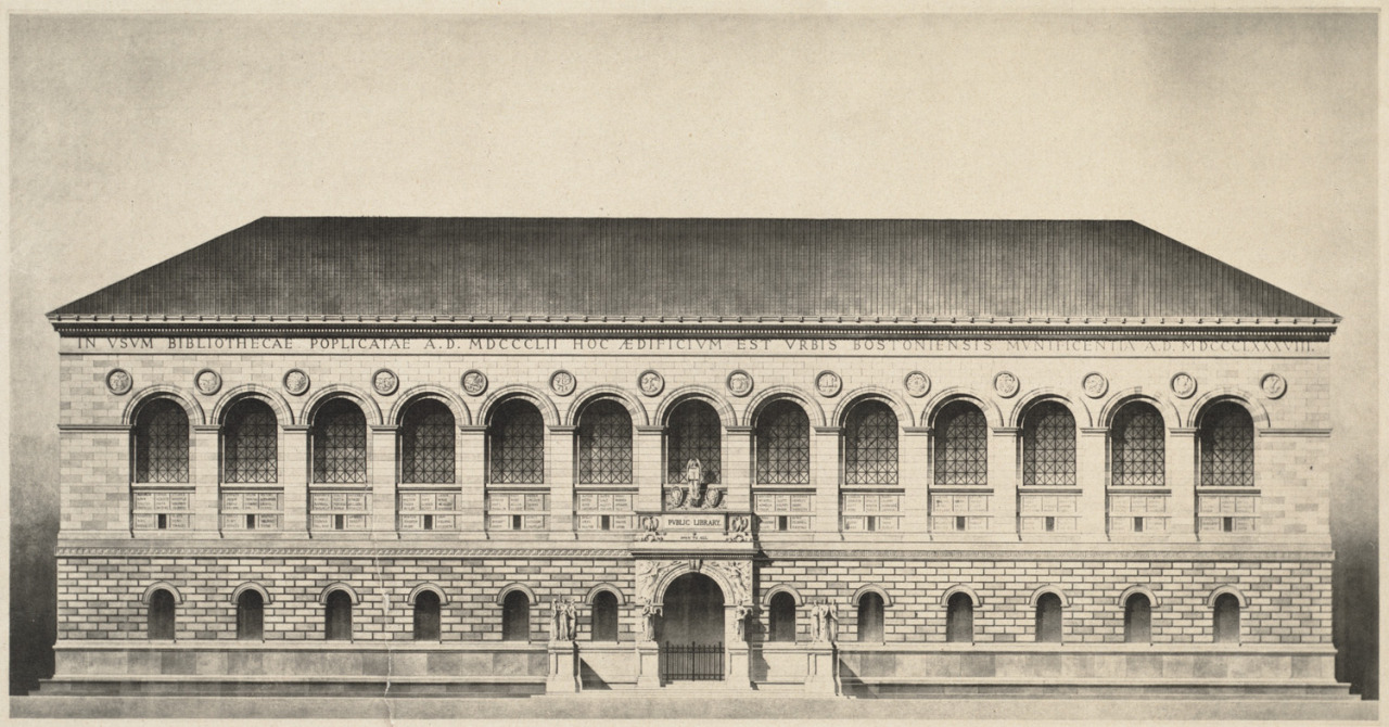 archimaps:  Elevation of McKim, Mead & White's Public Library building, Boston