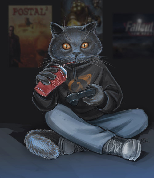 bluedogeyes:   Gamer Cat by maXKennedy Artist tumblr
