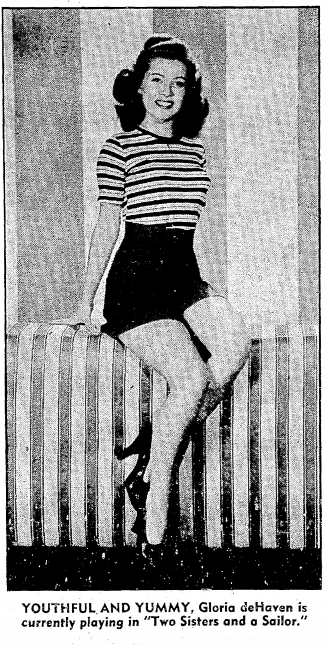 Gloria DeHaven was 19 in this photo.  She's currently 87.  March 26th, 1944