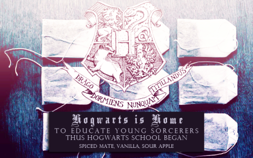 "HiH Tea Blends | Hogwarts is Home • ""to educate young sorcerers thus hogwarts school began"" • spiced mate, vanilla, sour apple  I wish I could have four choices so I could pick a tea for each house! But I only have three so I wanted to pick three very different flavors for this HiH mix to represent all of the different people we find here (but not limited to the four Hogwarts house personality traits). I picked Spiced Mate to represent the fiery, bold, outgoing, playful side of HiH. I picked Vanilla to represent our soft edges — the sweetness, the kindness, the generosity and the compassion we find here so often. And I picked Sour Apple to represent our quirks, what makes us unique and what makes us us. — Phoebe  ( Feedback is especially appreciated since we weren't too certain about the percentages and intend to fumble around with those to make them work out perfectly. ♥ )"