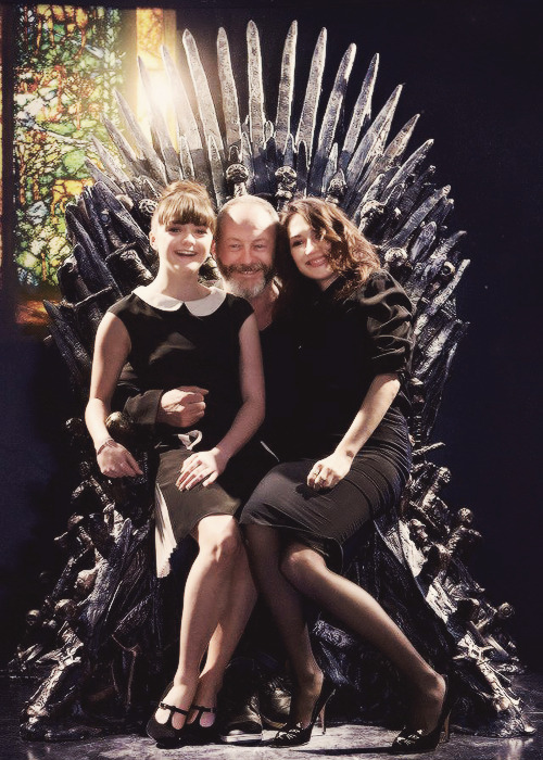 suicideblonde:  Maisie Williams, Liam Cunningham and Carice von Houten at the Game of Thrones exhibit in Amsterdam, May 18th