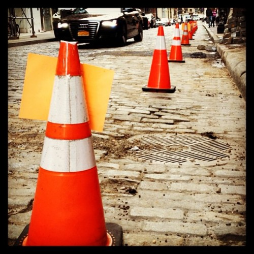 Caution on Greene Street. 🚧  (at SoHo)