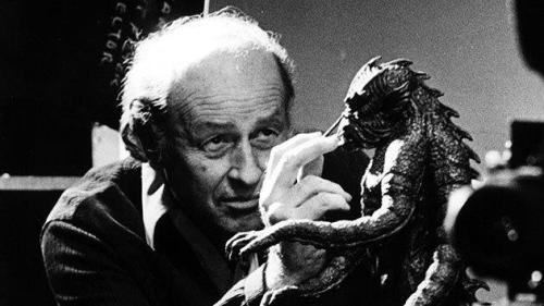 The master of stop-motion animation, Ray Harryhausen, working on the Kraken from the original Clash of the Titans (1981).
