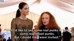 grace coddington at the metropolitan museum of art for the punk: chaos to couture exhibit.