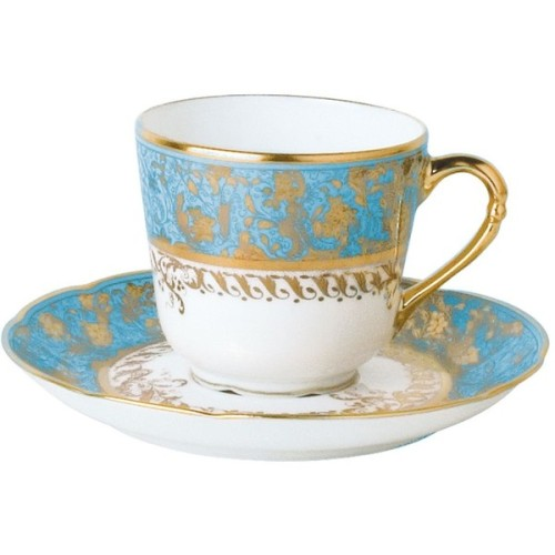 "Bernardaud ""Eden"" Turquoise Coffee Saucer   ❤ liked on Polyvore"