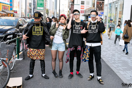 tokyo-fashion:  Group of friends wearing Style Icon Tokyo on the street in Harajuku.