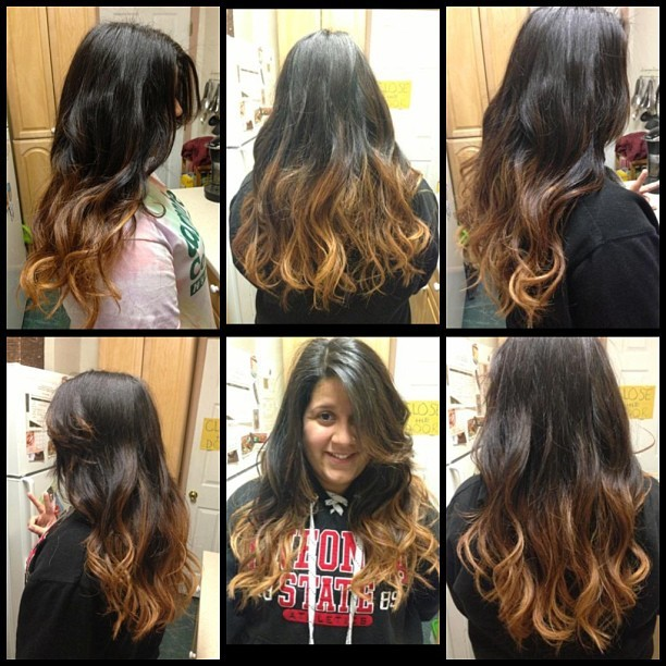 harshintentions:  Ombré I did on @istheteaa today, still have to lighten the ends more in a couple of weeks #ombré #nofilter