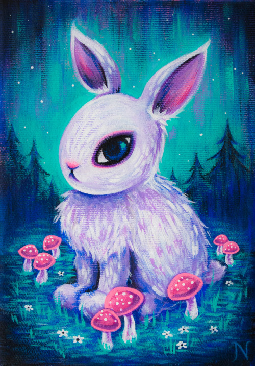 "cakeeater:  White Rabbit, acrylic + glitter on canvas, 5""×7"", 2013 by Natali Wiseman (cakeeater.net)  cakeeater.etsy.com"