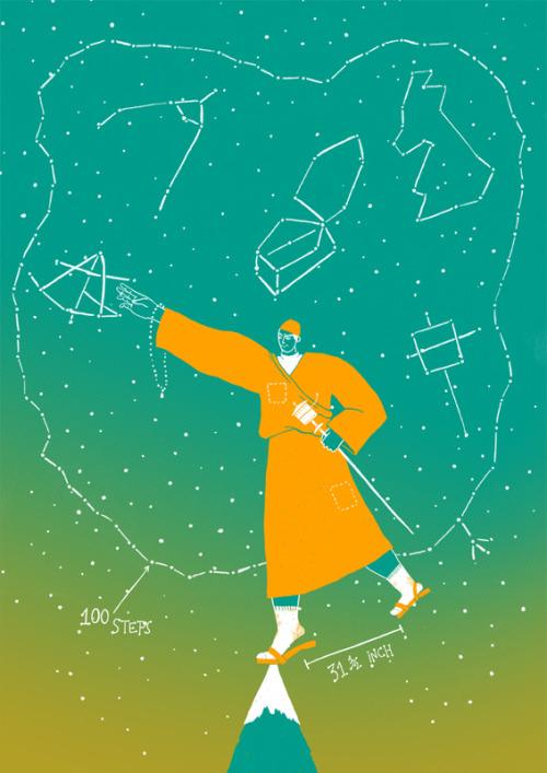 Nain Singh Il·lustració/Ilustración/Illustration: Marta Vilches CAT Nascut el 1830 a Milam, un poblet petit de L'Índia, Nain va ser un dels grans exploradors de la Royal Geographical Society. Explorador i cartògraf que dedicà la seva vida a il·lustrar en el mapa la zona del Tíbet i l'Índia amb delicat detall i precisió. Des de ben jove en Nain viatjava amb el seu pare per la ruta de l'Índia al Tibet, quelcom que el va ajudar a conèixer i parlar la seva llengua, les costums i els protocols per futures missions. La seva primera expedició va ser com a membre d'un equip de geògrafs alemanys cap als llacs Mansarovar i Rakasta. Després seguiria com ajudant en quest mateix equip alemany fins que va ser contractat com a professor, més tard director, en el departament d'Educació. Més endavant, l'any 1863, va ser reclutat per l'exèrcit anglès per formar part de l'equip d'expedició per el Gran Projecte de Topografia Trigonomètrica i va ser considerat com el millor del grup. Allà va rebre formació per sobreviure a la muntanya i va aprendre moltes tècniques per mesurar distànies i poder dibuixar mapes amb precisió. Nain va ser conegut per la seva gran habilitat per les noves tecnologies, la facilitat per guiar-se a través de les estrelles i per ser un excel·lent espia al servei dels anglesos. Durant aquells temps era una feina difícil la d'explorador i per aquesta raó en Nain es vestia de monjo, cosa que l'ajudava per poder amagar les seves notes, mesures i experiències en forma de pregàries. També feia us de rosaris per calcular les distàncies i la mesura dels seus peus. Nain va ser el primer explorador en recórrer el Tibet i descobrir el poble de Lhasa. Nain va morir l'any 1895 a causa d'un atac de cor. La seva vida va ser una completa aventura plena de camins difícils i grans avenços a la ciència de la tecnologia. - ES Nacido en 1830en Milam, un pueblecito pequeño de la India, Nain fue uno de los grandes exploradores de la Royal Geographical Society. Explorador y cartógrafo q