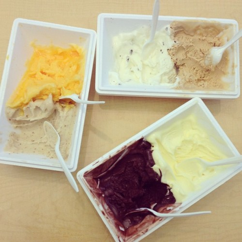 Afternoon treat: Vivoli gelato tasting! So many tasty flavors like (clockwise from top) Stracciatella, Nocciola, Crema all'Arancia, Cioccolata, Pera and Mandarino!