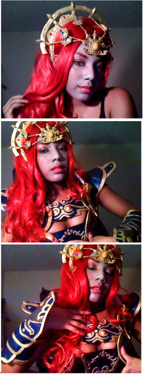 cosplayingwhileblack:   G a n o n o n d o r f - L e g e n d o f Z e l d a [ T w i l i g h t P r i n c e s s ] Shots of some of my armor . There is a little bit more but I didnt feel like putting it on . Besides , I really haven't found a proper way to attach everything ( thus why I am holding it up xD ) . I'll probably end up using buttons or velcro . I kind of derped in the last picture , but I ended up liking it * shrugs * Oh and I didnt feel like painting my whole body either thats why its just my face that's grey xD Taken from my Facebook: Nerissami   SUBMISSION