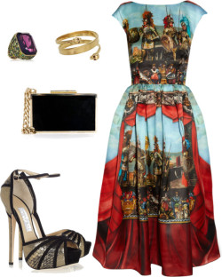 D&G fever by jamilcedenoc featuring gold plated jewelryDolce & Gabbana multi color dress / Jimmy Choo suede pumps / Lanvin  handbag / Alexander McQueen antique jewelry / KENNETH JAY LANE gold plated jewelry